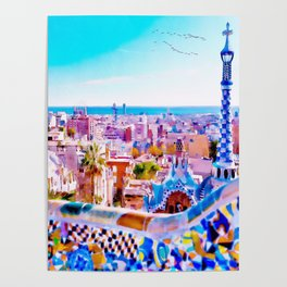 Park Guell Watercolor painting Poster