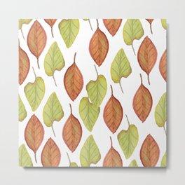Autumn Watercolor Brown Fall Leaves Metal Print