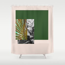 Gray and Green Shower Curtain