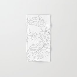 Line Art Monstera Leaves Hand & Bath Towel