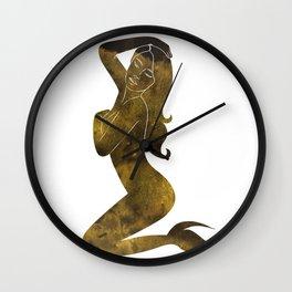 Gold Mermaid Wall Clock