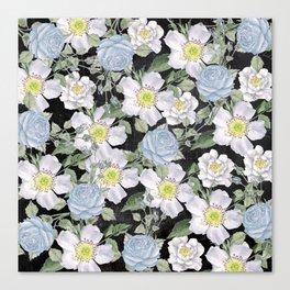 Vintage Rose Pattern Blue On Chalkboard Canvas Print