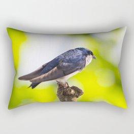 Little Blue Tree Swallow Rectangular Pillow