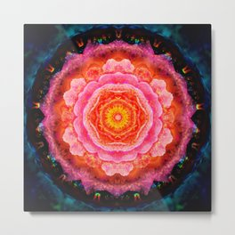 Mystical Rose Mandala Metal Print