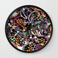 paisley Wall Clocks featuring PAISLEY by  Ray Athi