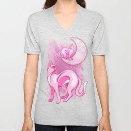 Pink Cat Mood Unisex V-Neck
