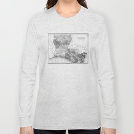 Vintage Map of Louisiana (1838) BW Long Sleeve T-shirt