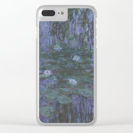 Blue Water Lilies Clear iPhone Case