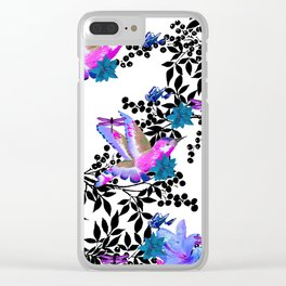 TOIL BLACK LEAF PALM PURPLE ROSES AND HUMMINGBIRDS Clear iPhone Case