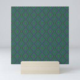New Delhi #3  Floral Diamonds in Green and Purple Mini Art Print