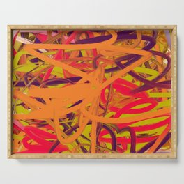 Orange Purple Green & Pink Abstract Serving Tray