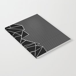 Abstract Grid Outline White on Black on Side Notebook