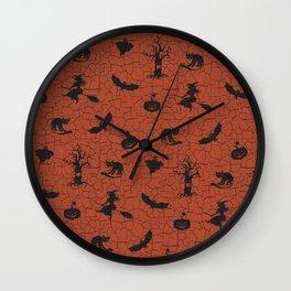 Halloween pattern on crackle orange background Wall Clock