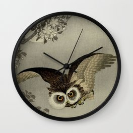 Japanese Owl and Moon Wall Clock