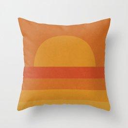 Retro Geometric Sunset Throw Pillow
