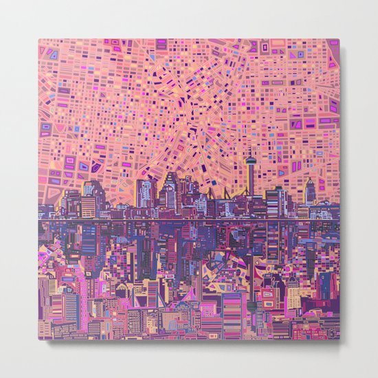 san antonio city skyline abstract 5 Metal Print