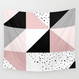 Geometrical pink black gray watercolor polka dots color block Wall Tapestry