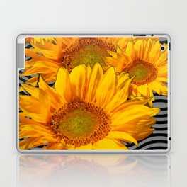 YELLOW SUNFLOWERS BLACK-GREY WAVE ART Laptop & iPad Skin