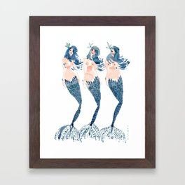 BLUE BEAUTIES // 12 Days of Mermaids Series Framed Art Print