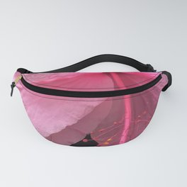 Dewdrops on Tropical Pink Flower Fanny Pack