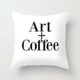 Art + Coffee graphic design Throw Pillow