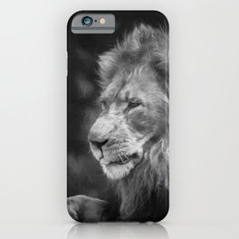 King Of The Jungle (B&W digital painting) iPhone Case