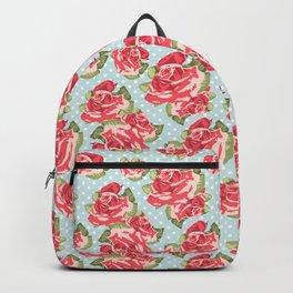 English Roses Blue Polka Dots Backpack