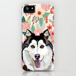 Husky floral pet portrait art print and dog gifts iPhone Case