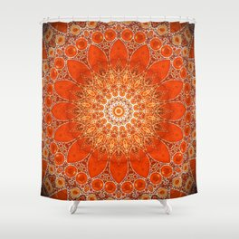 Detailed Orange Boho Mandala Shower Curtain