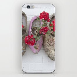 Dutch wooden shoes and geraniums from Marken, Holland iPhone Skin