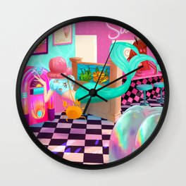 Retro Undersea Diner! Wall Clock