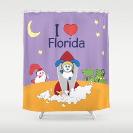 Ernest and Coraline | I love Florida Shower Curtain