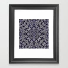 Cream Colored Mandala in Dark Blue Background Framed Art Print