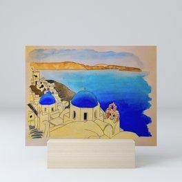 Santorini watercolor Mini Art Print