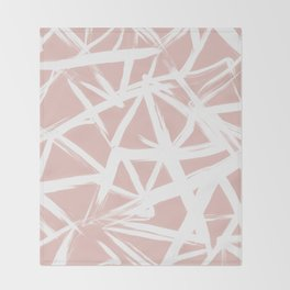 Modern white abstract geometric hand painted brushstrokes pale blush pink Throw Blanket