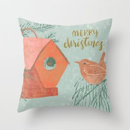 Merry Christmas Wren with Bird House Throw Pillow