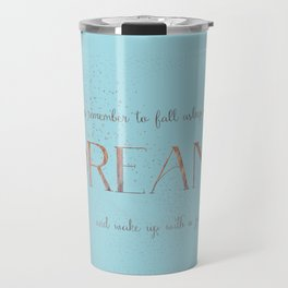 Always remember to fall asleep with a dream - Gold Teal Vintage Glitter Typography Travel Mug