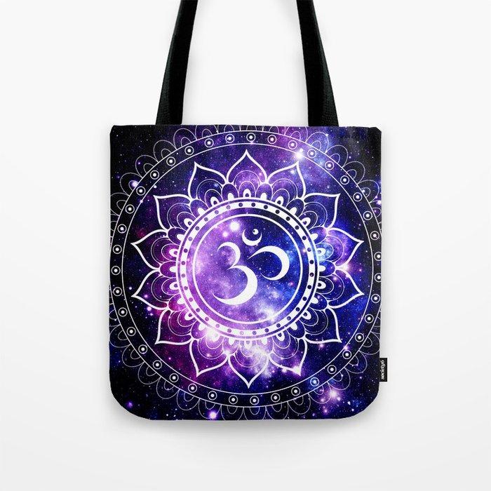 om mandala: purple blue space Tote Bag