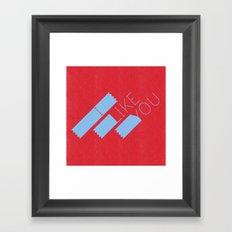 I Like You Graphik: Blue Type Framed Art Print
