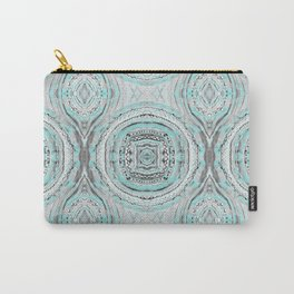 Teal & Blue Complexities - a Watercolor Tribal Pattern Carry-All Pouch