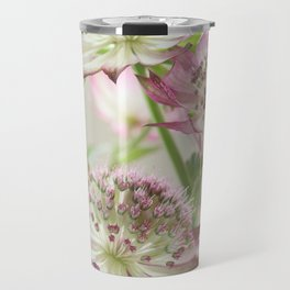 Pink Astrantia Flowers Travel Mug