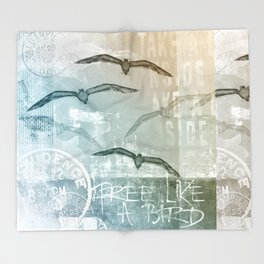 Free Like A Bird Seagull Mixed Media Art Throw Blanket