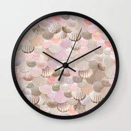 MERMAID SHELLS - CORAL ROSEGOLD Wall Clock