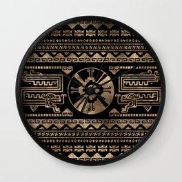 Hunab Ku Gold on black Wall Clock