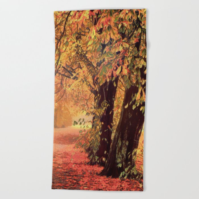 Autumn - the leaves are falling Beach Towel
