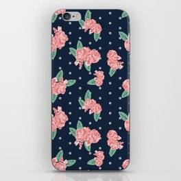 Brooklin - Navy dots floral bouquet minimal boho abstract flowers iPhone Skin