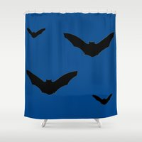 bats Shower Curtains featuring Bats by Jessica Slater Design & Illustration