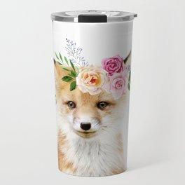 Baby Fox with Flower Crown Travel Mug