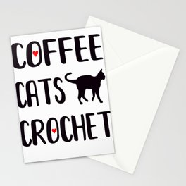 Coffee Cats Crochet Craft Cat Lover Kitty Pet Groomer Heart Premium T-Shirt Stationery Cards