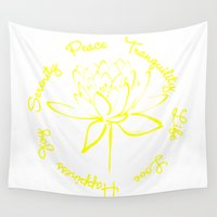 calligraphy Wall Tapestries featuring Lotus Calligraphy Text (Yellow) by Makanahele